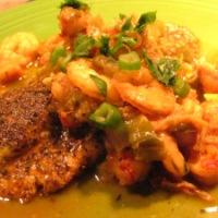 Crawfish and Shrimp Etouffee with Bronzed Catfish